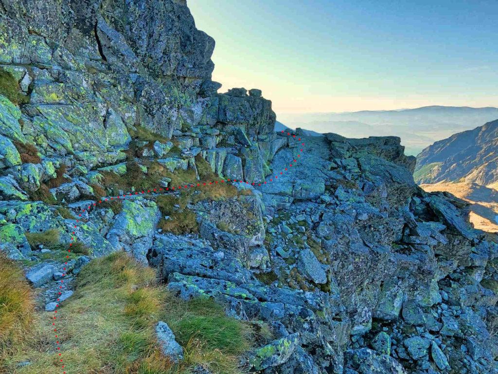 Mięguszowiecki Szczyt Wielki, wejście od Hińczowej Przełęczy