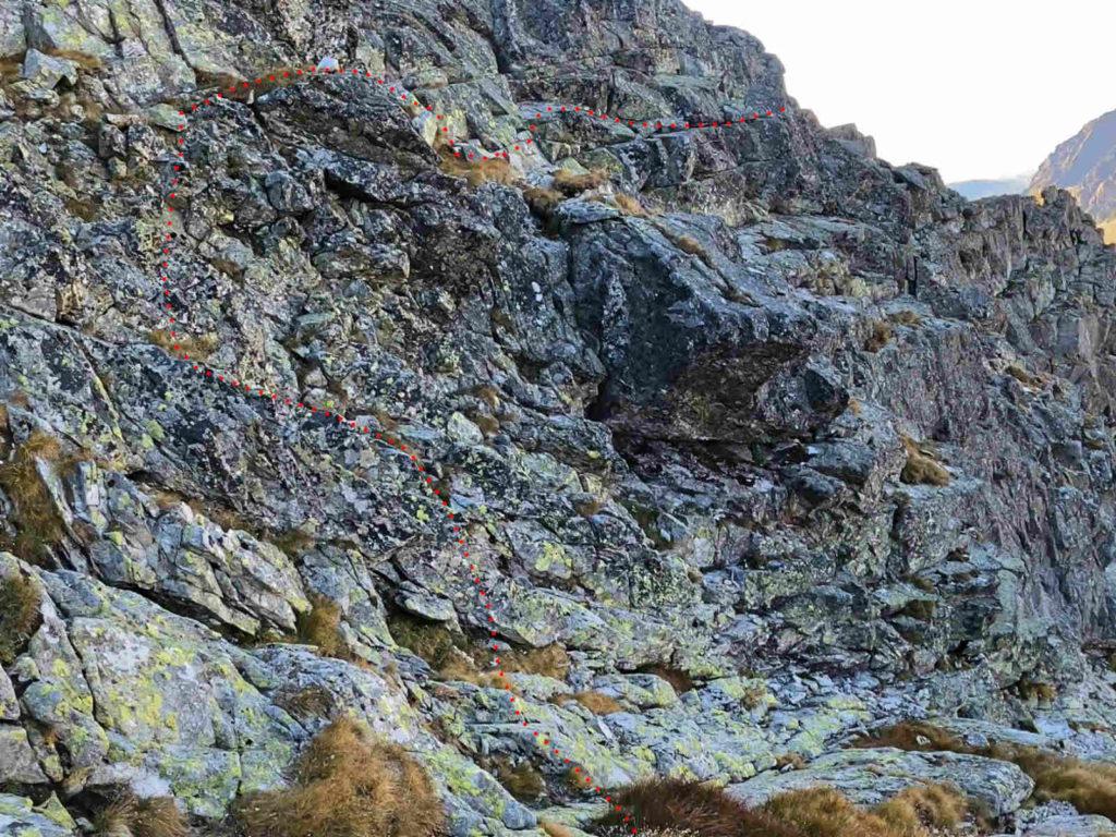 Mięguszowiecki Szczyt Wielki, wejście z Hińczowej Przełęczy
