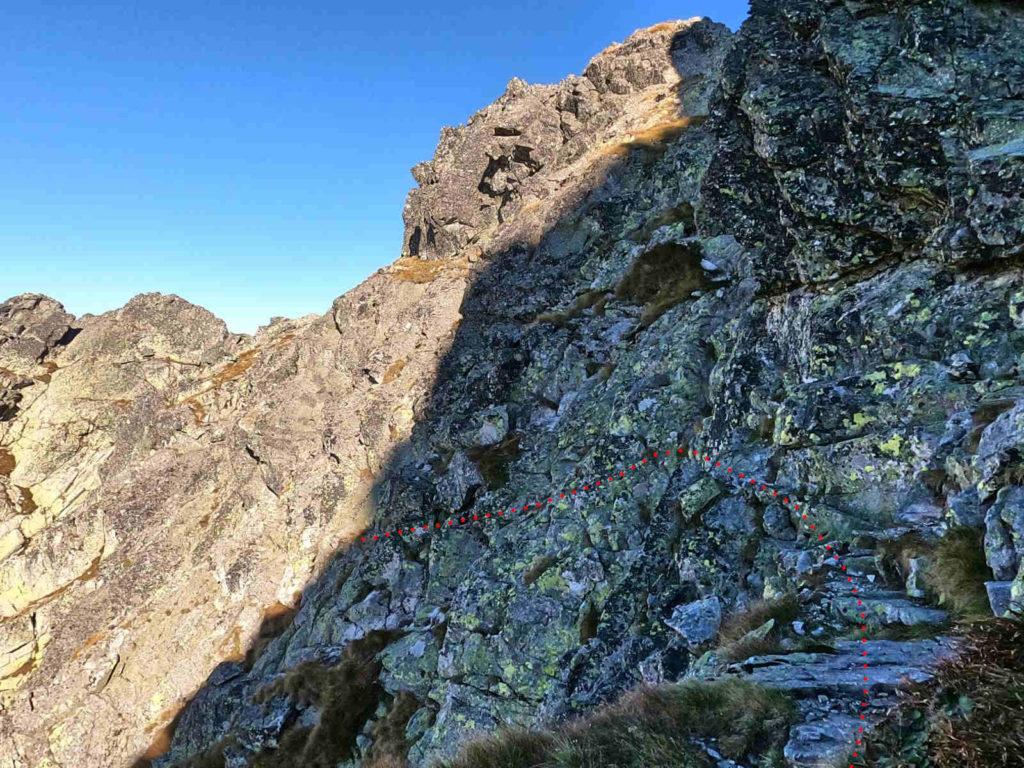 Mięguszowiecki Szczyt Wielki, zejście do Hińczowej Przełęczy